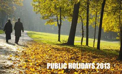 2013 Public Holidays in Australia